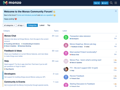 Screenshot of the Monzo online community forum